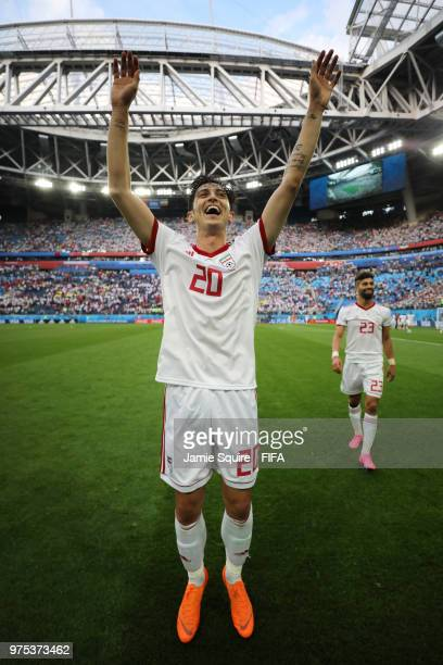 Sardar Azmoun of Iran celebrates on the pitch following his sides victory in the 2018 FIFA World Cup Russia group B match between Morocco and Iran at...