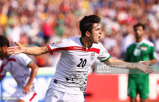 Sardar Azmoun of Iran celebrates scoring a goal during the 2015 Asian Cup match between Iran and Iraq at Canberra Stadium on January 23 2015 in...