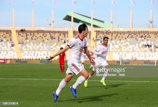 Sardar Azmoun of Iran celebrates scoring his side's first goal to make the score 01 during the AFC Asian Cup Group D match between Vietnam and Iran...