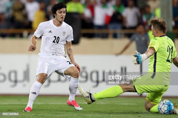 Sardar Azmoun of Iran in action during FIFA 2018 World Cup Qualifier match between Iran and Uzbekistan at Azadi Stadium on June 12 2017 in Tehran Iran
