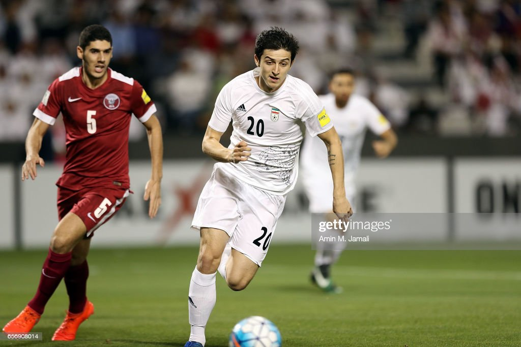Sardar Azmoun of Iran in action during Qatar against Iran - FIFA 2018 World Cup Qualifier on March 23, 2017 in Doha, Qatar.