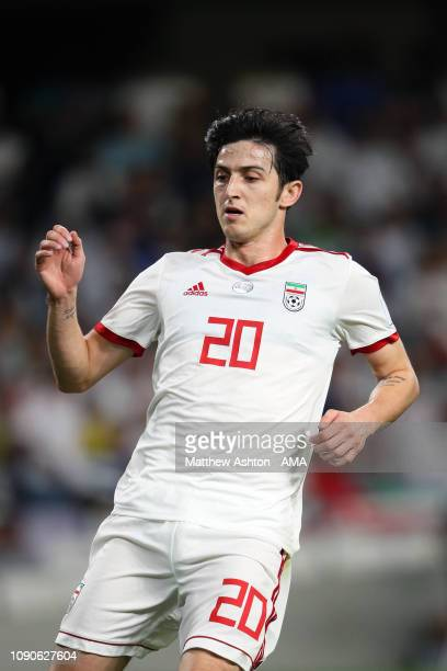 Sardar Azmoun of Iran in action during the AFC Asian Cup semi final match between Iran and Japan at Hazza Bin Zayed Stadium on January 28 2019 in Al...