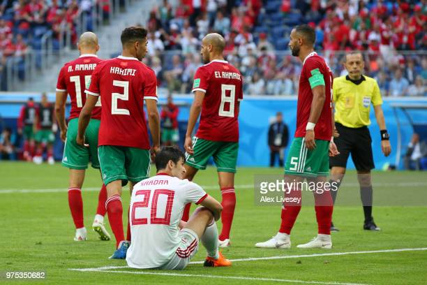 Sardar Azmoun of Iran looks on during the 2018 FIFA World Cup Russia group B match between Morocco and Iran at Saint Petersburg Stadium on June 15...