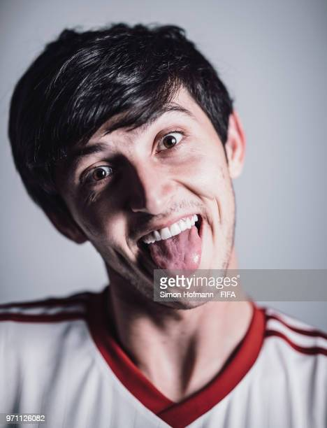 Sardar Azmoun of Iran poses during the official FIFA World Cup 2018 portrait session at Bakovka Training Base on June 9 2018 in Moscow Russia