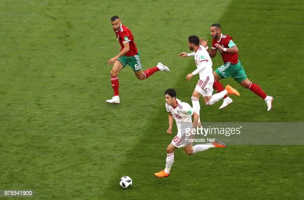 Sardar Azmoun of Iran run off the ball during the 2018 FIFA World Cup Russia group B match between Morocco and Iran at Saint Petersburg Stadium on...