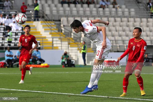 Sardar Azmoun of Iran scores his side's first goal to make the score 01 during the AFC Asian Cup Group D match between Vietnam and Iran at Al Nahyan...