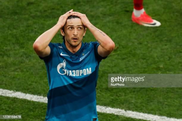 Sardar Azmoun of Zenit Saint Petersburg reacts during the Russian Premier League match between FC Zenit Saint Petersburg and FC Tambov on August 22,...