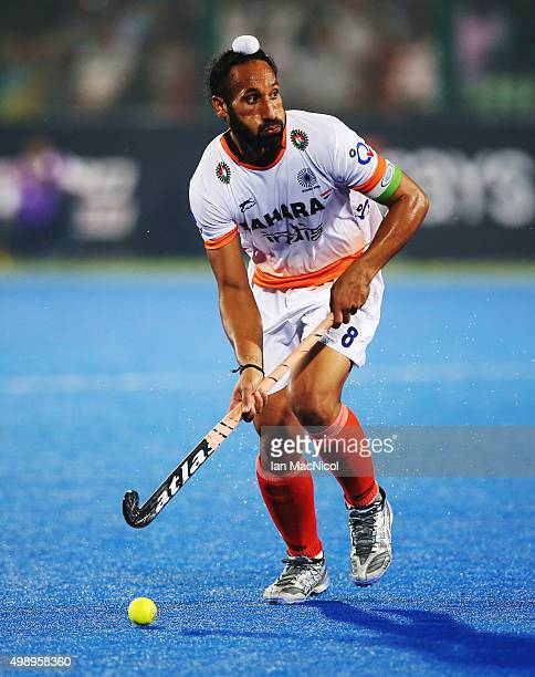 Sardar Singh captain of India controls the ball during the match between Argentina and India on day one of The Hero Hockey League World Final at the...