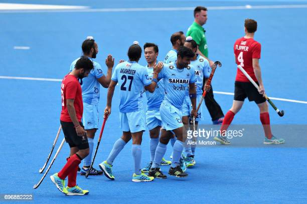 Sardar Singh of India celebrates scoring the third goal of India during the Hero Hockey World League Semi Final match between Canada and India at Lee...