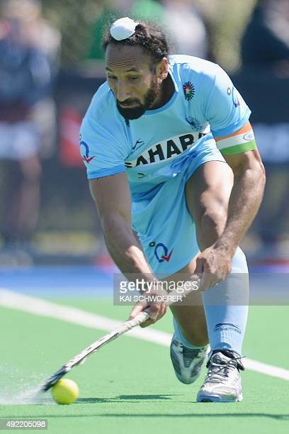 Sardar Singh of India looks to pass the ball during the international men's hockey test match between the New Zealand Black Sticks and India on...