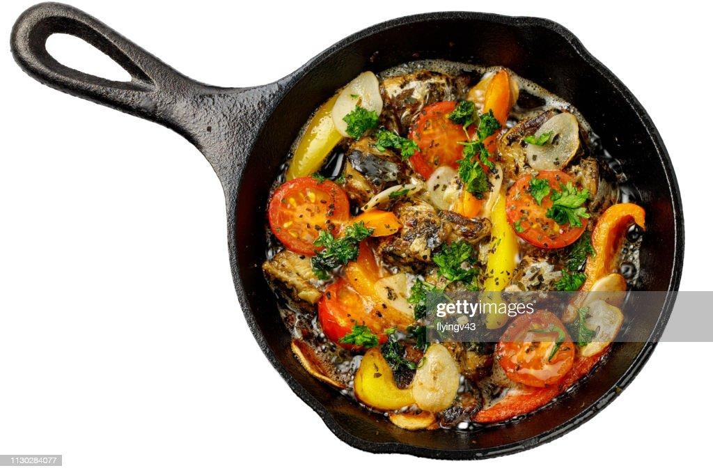 いわしのアヒージョ、フライパン料理 : ストックフォト