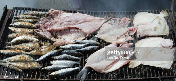 Sardines and dorado roasting On Barbeque Grill