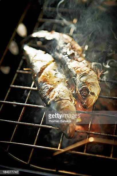 Sardines being grilled on barbecue