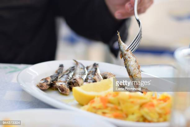 sardines dish - epirus greece stock pictures, royalty-free photos & images
