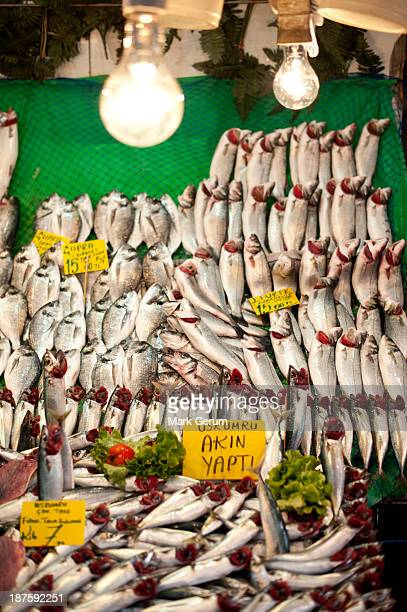 Sardines for sale at a fish market in Istanbul, Turkey