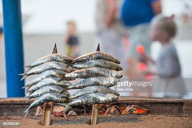 sardines on the grill - fuengirola stock photos and pictures
