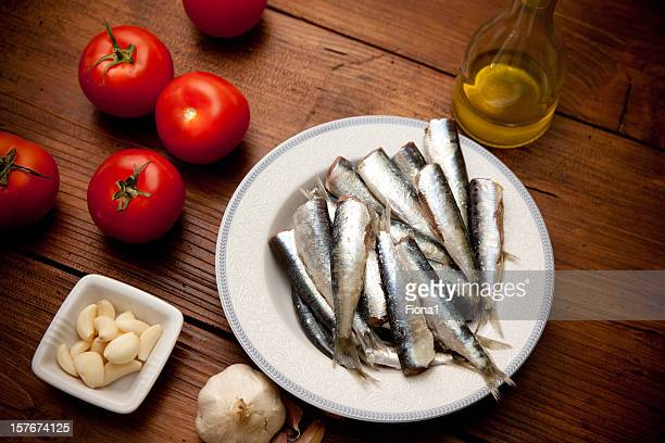 Sardines prepered for cooking