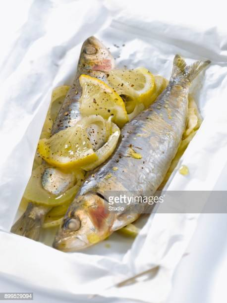 Sardines,fennel and lemon cooked in wax paper
