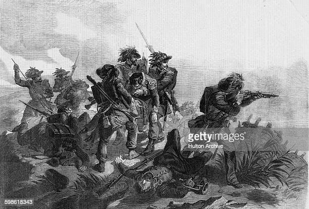 Sardinian Chasseurs in action against the Austrians over the Rivoli at the Battle of Custoza during the First Italian War of Independence on 22 July...