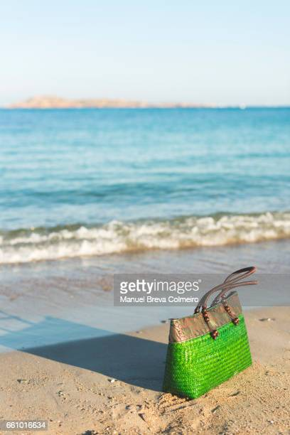 Sardinian wicker bag on the beach