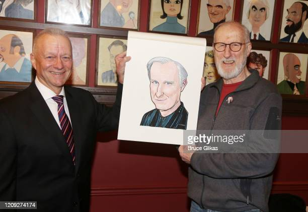Sardis Max Klimavicius and James Cromwell pose as Sardis honors James Cromwell with his caricature for his performance in broadway's Grand Horizons...
