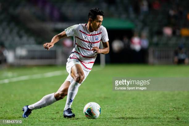 Saret Krya of Cambodia in action during the FIFA World Cup Asian Qualifier second round match between Hong Kong and Cambodia on November 19 2019 in...