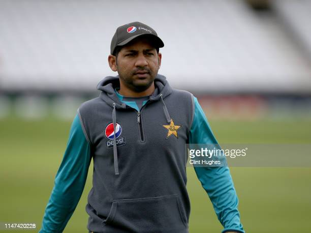 Sarfaraz Ahmed captain of Pakistan during Pakistan nets ahead of their match in the ICC Cricket World Cup against England at Trent Bridge on June 2...