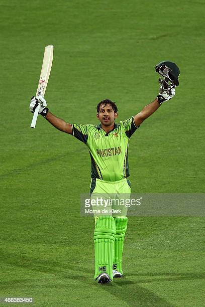 Sarfaraz Ahmed of Pakistan celebrates after reaching 100 runs during the 2015 ICC Cricket World Cup match between Pakistan and Ireland at Adelaide...