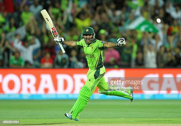 Sarfaraz Ahmed of Pakistan celebrates scoring his century during the 2015 ICC Cricket World Cup match between Pakistan and Ireland at Adelaide Oval...