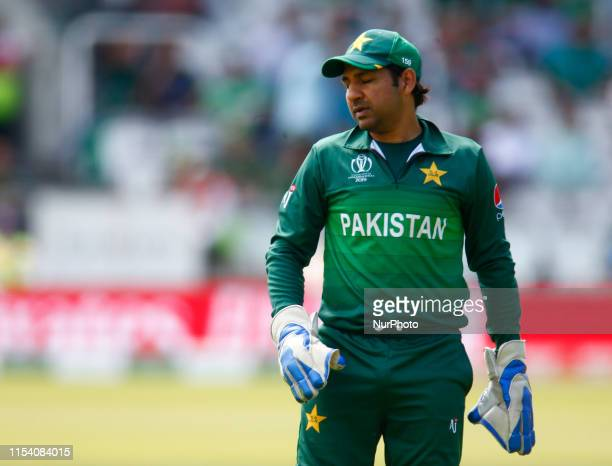 Sarfaraz Ahmed of Pakistan during ICC Cricket World Cup between Pakinstan and Bangladesh at the Lord's Ground on 05 July 2019 in London, England.