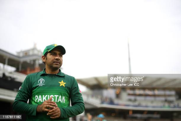 Sarfaraz Ahmed of Pakistan during the Group Stage match of the ICC Cricket World Cup 2019 between Pakistan and South Africa at Lords on June 23 2019...