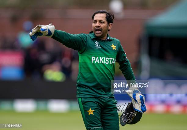 Sarfaraz Ahmed of Pakistan gestures during the Group Stage match of the ICC Cricket World Cup 2019 between Australia and Pakistan at The County...