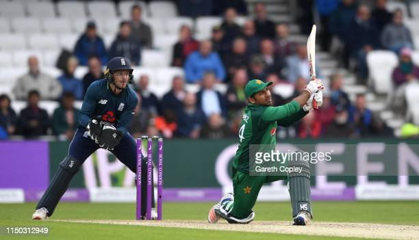 Sarfaraz Ahmed of Pakistan hits out for six runs during the 5th One Day International between England and Pakistan at Headingley on May 19 2019 in...