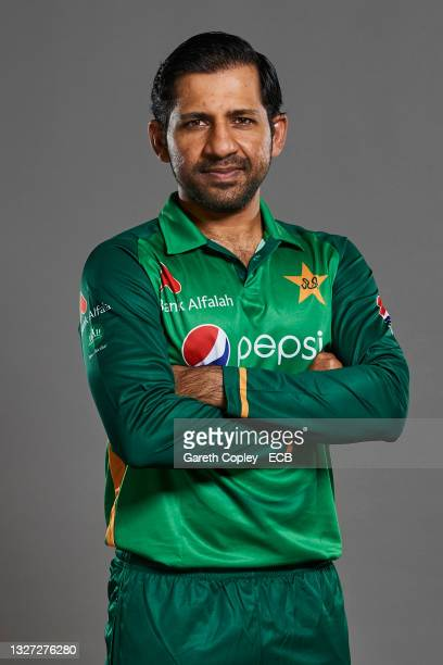 Sarfaraz Ahmed of Pakistan poses during a portrait session at The Incora County Ground on July 05, 2021 in Derby, England.