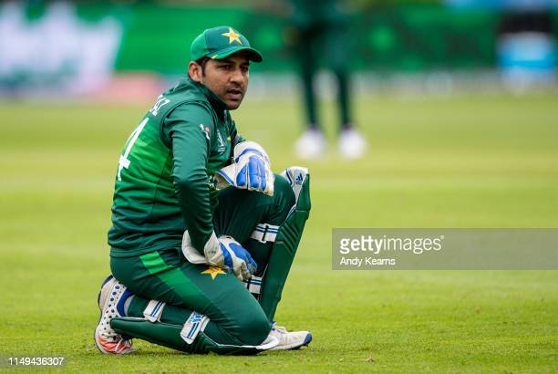 Sarfaraz Ahmed of Pakistan rues a near miss during the Group Stage match of the ICC Cricket World Cup 2019 between Australia and Pakistan at The...