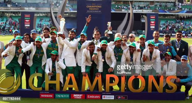 Sarfaraz Ahmed of Pakistan with Trophy during the ICC Champions Trophy Final match between India and Pakistan at The Oval in London on June 18 2017