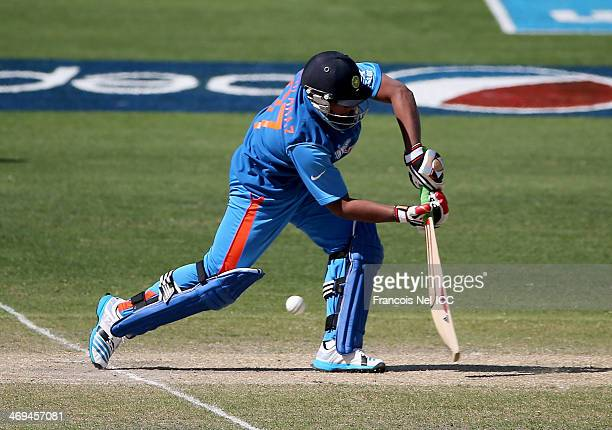 Sarfaraz Khan of India bats during the ICC U19 Cricket World Cup 2014 match between India and Pakistan at the Dubai Sports City Cricket Stadium on...
