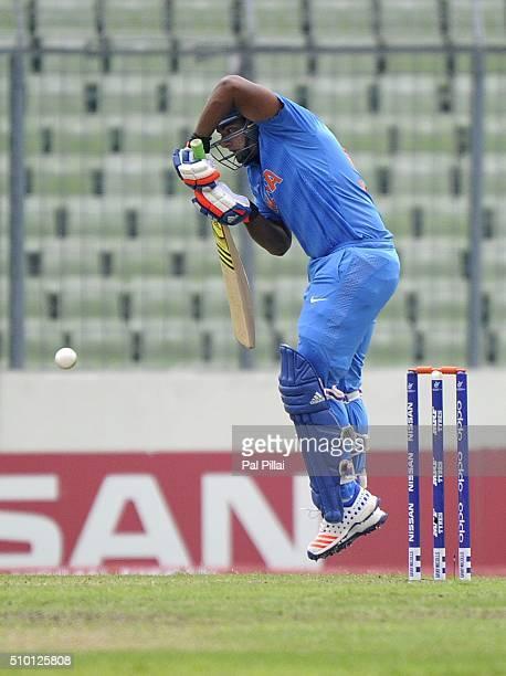 Sarfaraz Khan of India bats during the ICC U19 World Cup Final Match between India and West Indies on February 14 2016 in Dhaka Bangladesh