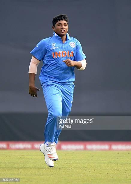 Sarfaraz Khan of India celebrates the wicket of Shammu Ashan of Sri Lanka during the ICC U19 World Cup SemiFinal match between India and Sri Lanka on...