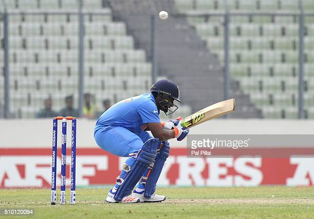 Sarfaraz Khan of India leaves a ball as he bats during the ICC U19 World Cup Final Match between India and West Indies on February 14 2016 in Dhaka...