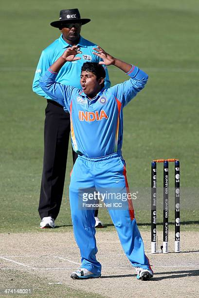 Sarfaraz Khan of India reacts during the ICC U19 Cricket World Cup 2014 Quarter Final match between England and India at the Dubai Sports City...