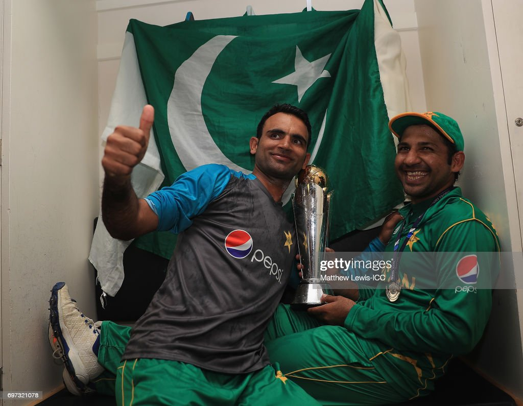 Sarfraz Ahmed and Fakhar Zaman of Pakistan celebrates with the ICC Champions Trophy after beating India during the ICC Champions Trophy Final between Pakistan and India at The Kia Oval on June 18, 2017 in London, England.