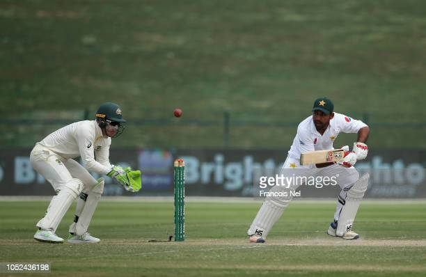 Sarfraz Ahmed bats during day three of the Second Test match between Australia and Pakistan at Sheikh Zayed stadium on October 18 2018 in Abu Dhabi...