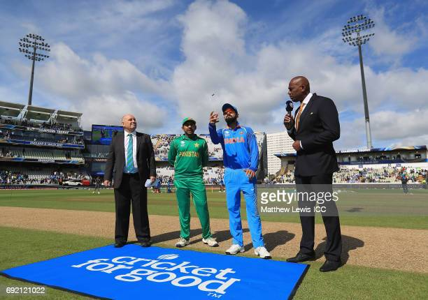 Sarfraz Ahmed captain of Pakistan and Virat Kohli captain of India pictured during the coin toss during the ICC CHampions Trophy match between India...