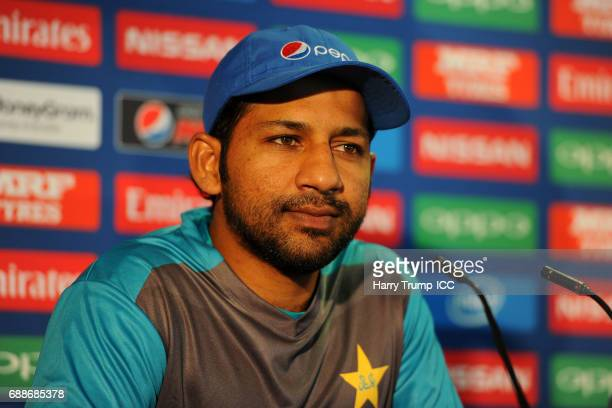 Sarfraz Ahmed, Captain of Pakistan looks on during a ICC Champions Trophy - Pakistan Press Conference at Edgbaston on May 26, 2017 in Birmingham,...