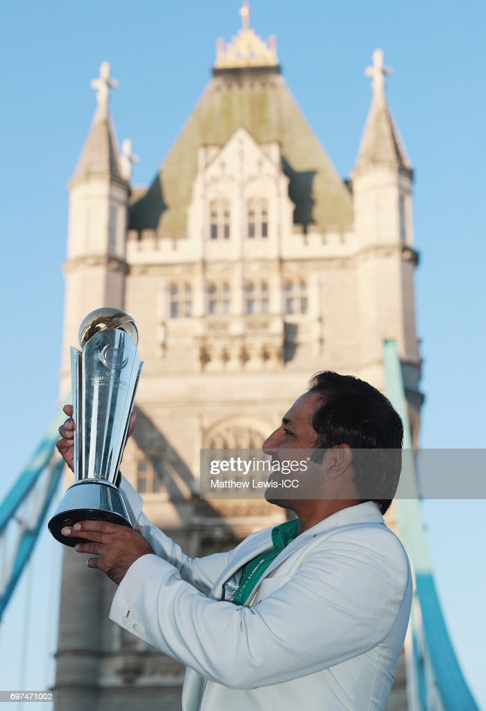 Sarfraz Ahmed, Captain of Pakistan pictured with the ICC Champions Trophy during a photocall after winning the Final of the ICC Champions Trophy on June 19, 2017 in London, England.