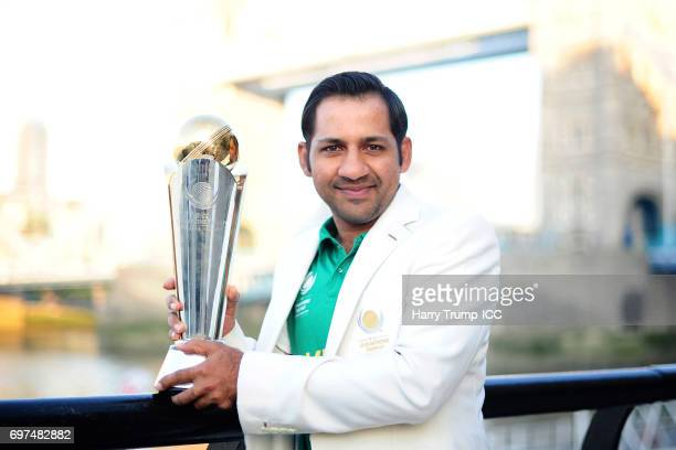 Sarfraz Ahmed Captain of Pakistan poses with the trophy during the ICC Champions Trophy Post Final Photocall at Tower Bridge on June 19 2017 in...