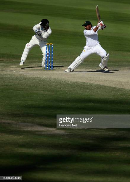 Sarfraz Ahmed of Pakistan bats during day five of The Third Test match between New Zealand and Pakistan at Zayed Cricket Stadium on December 7 2018...