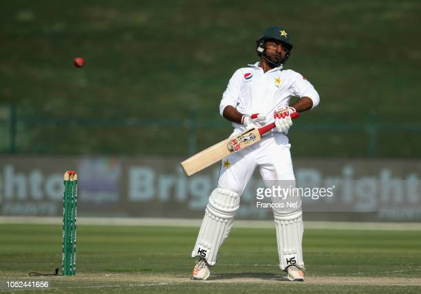 Sarfraz Ahmed of Pakistan bats during day three of the Second Test match between Australia and Pakistan at Sheikh Zayed stadium on October 18 2018 in...