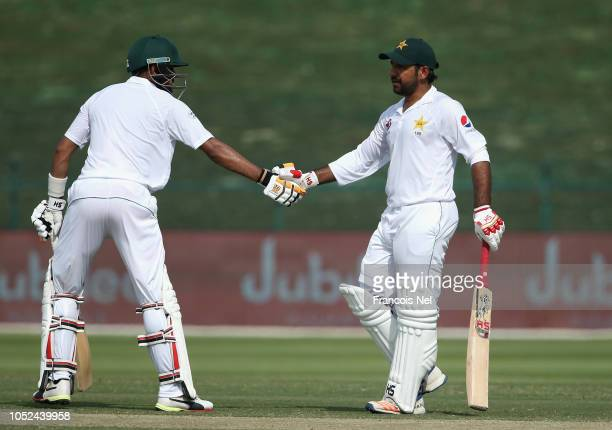 Sarfraz Ahmed of Pakistan celebrates after reacing his half century during day three of the Second Test match between Australia and Pakistan at...